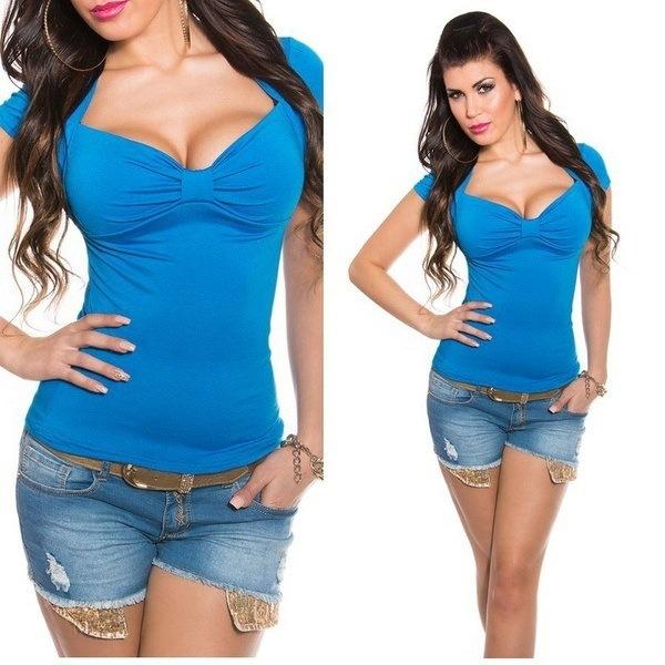 2017女性セクシーなソリッドカラーディープVネック半袖コットンTシャツ&トッププラスサイズ