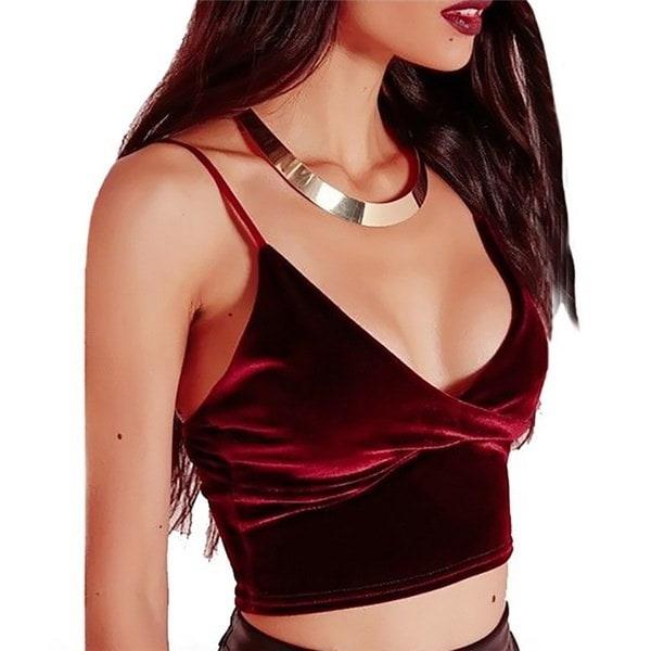 New Elegant Women Velvet V-neck Jumper Sexy Sleeveless Short Style Party Tank Top Vintage Crop Tops