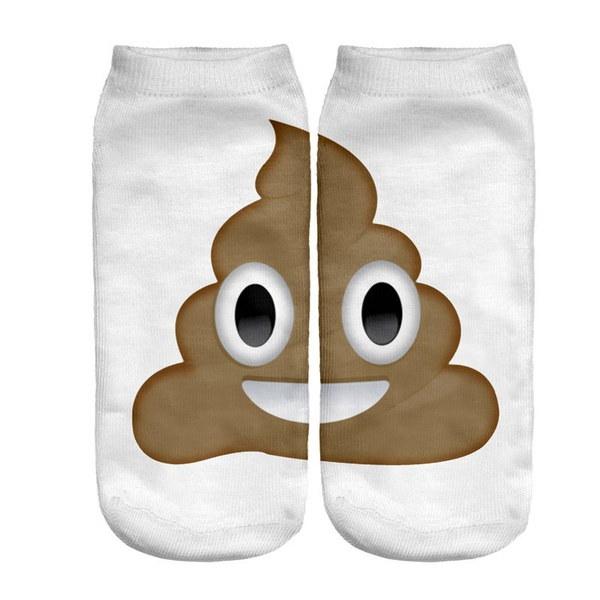 女性子供Emoji Poopスポーツローカットアンクルカジュアルショートソックスホワイト