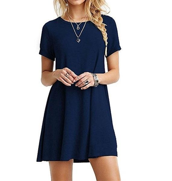 16色夏の半袖Tシャツドレス女性のカジュアルピュアカラーミニドレス