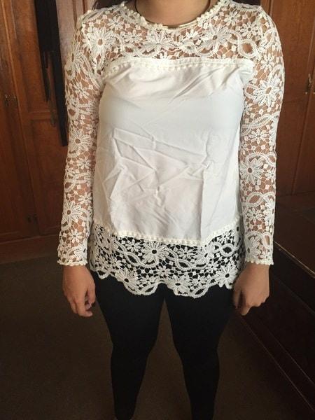 2016 Fancyinn 2014 Autumn Brand New Fashion White Lace Women Top Chiffon Blouse Shirt Women Lace Long Sleeve Blusas MGT