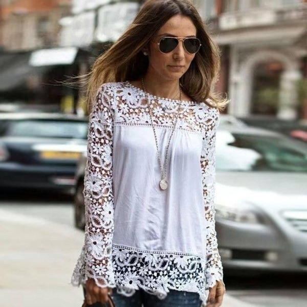 2016 Fancyinn 2014 Autumn Brand New Fashion White Lace Women Top Chiffon Blouse Shirt Women Lace Long Sleeve Blusas MGT