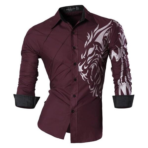 メンズドラゴンプリントスタイルドレスカジュアルシャツスリムフィットトレンドファッションロングスリーブシャツ3色SML