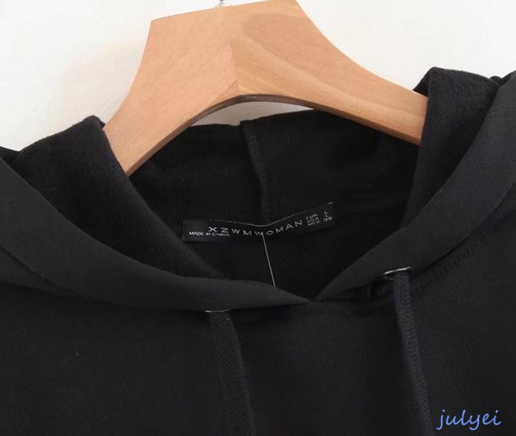 欧米風レディース パーカー フード付き カジュアル 長袖トップス 大きめ BF風 カジュアル 体型カバー ブラック