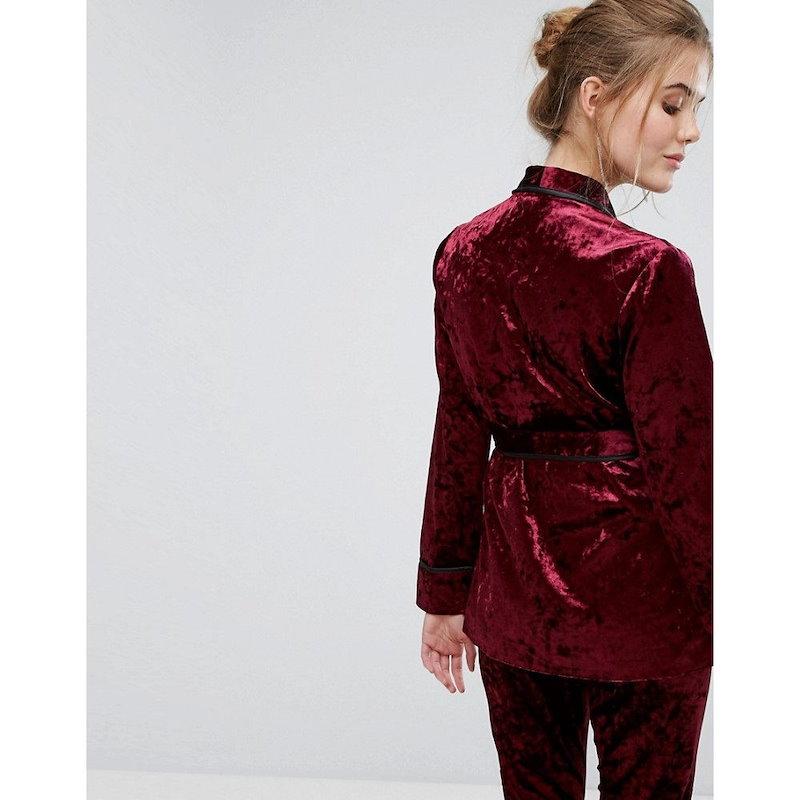 トルゥー ディカデンス レディース トップス【True Decadence Premium Crushed Velvet Tie Waist Suit Top】Burgundy