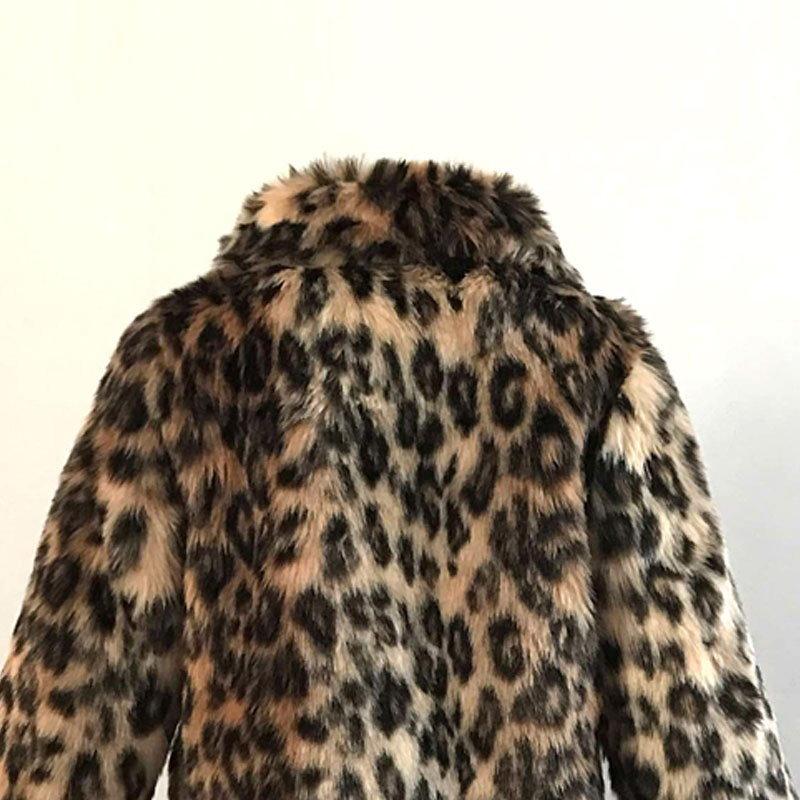 ファッション女性ロングフェイクファーレオパードジャケットラペルコートプラスサイズS-3XL
