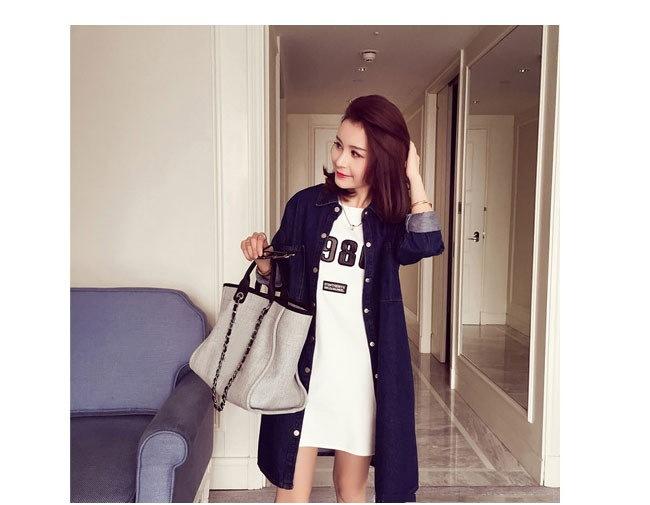 レディース服 女性 アウター コート オーバー 秋服 お洒落 ファッション 韓国風 シャツ ダークブルー 着痩せ トレンチコート デニム シンプル ワンピース 大きいサイズ ボタン