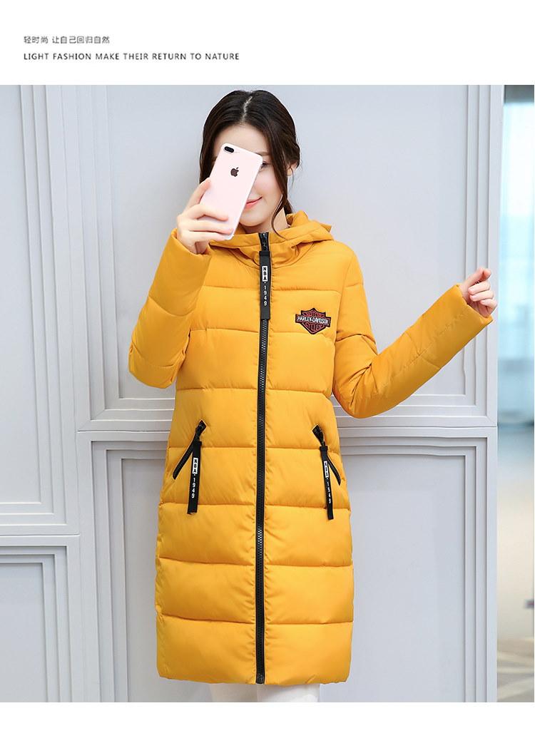 2107冬の綿、韓国の野生の女性の長いセクション綿のパッド付きジャケットの学生のジャケット