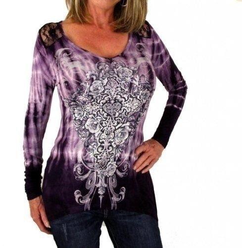 女性のファッションロングスリーブVネック不規則なTシャツレースパッチワークブラウスWZG2600