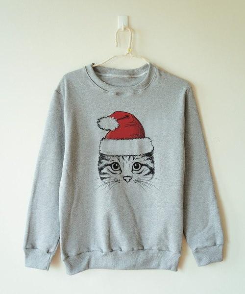 面白いクリスマスの猫のスエットシャツ女性ジャンパーセーターロングスリーブ女性ヒップホップパーカープルオーバー
