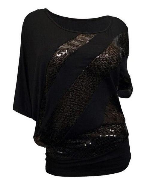 ファッション女性のスパンコールステッチバットスリーブOネックTシャツフィットフィットカジュアルブラウスプラスサイズS  -  3