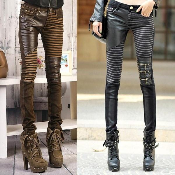 女性のための高品質のPUレザージーンズ2015ファッションカジュアルなズボンの足女性の鉛筆のためのデニムジーンズ