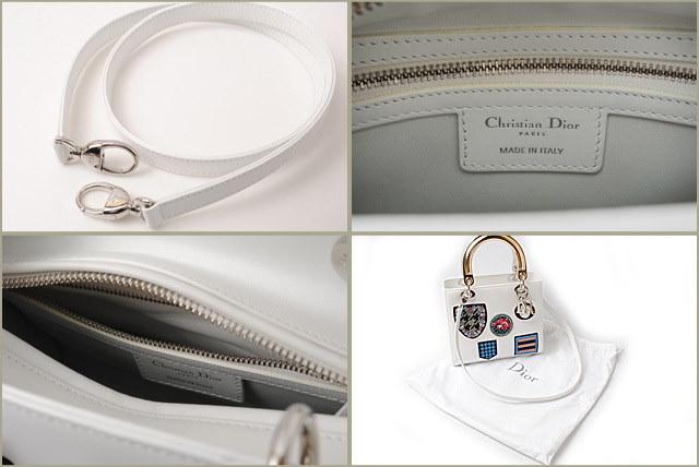 ディオール レディ ディオール ハンドバッグ/ショルダーバッグ Christian Dior 2014コレクション パッチワーク/ホワイト【中古】