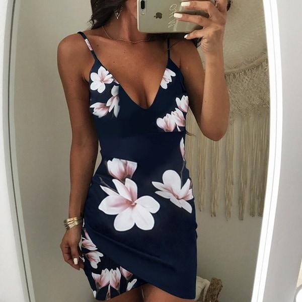 2017女性ファッション不規則な花のプリントバックレスボディコンスリップドレスセクシーなローブ