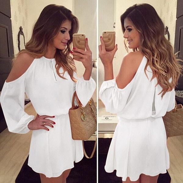 エレガントなAラインのドレス女性のファッションミニパーティードレスセクシーなロングスリーブストラップレスドレスOLスタイル
