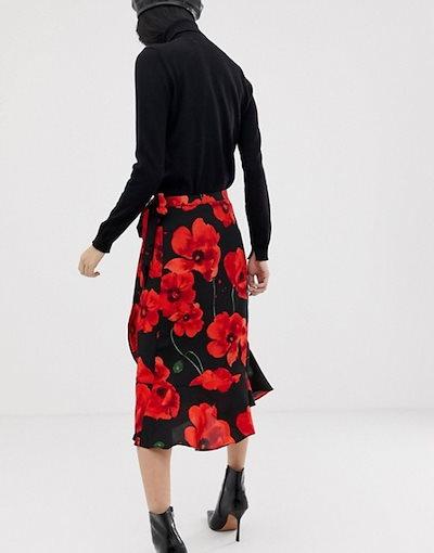 ジェイディーワイ レディース スカート ボトムス JDY poppy print wrap midi skirt