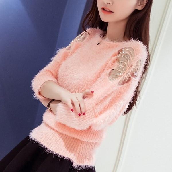 秋と冬のモヘアの韓国語版緩い大きなヤードファッションボトミングセーター中空hedgin