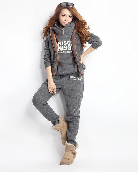 ファッション女性フード付きコートレディース3 in 1スポーツスーツトラックスーツセーター+ベスト+パンツTOP