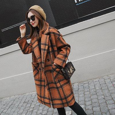 y35 チェック柄が可愛い チェスターコート ミディアム丈 秋冬 新作 オレンジ タータンチェック ロングコート アウター ジャケット