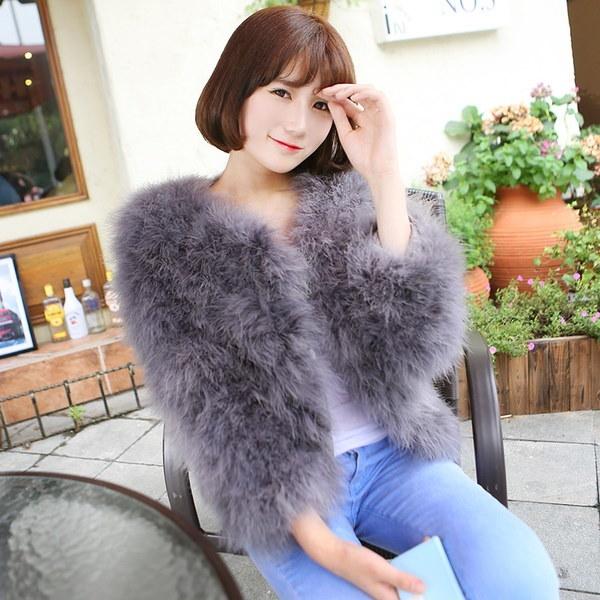 ホットファッション秋のダチョウファージャケットとコットンコートH  -  SP161014  -  4