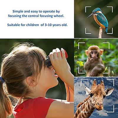 子供用双眼鏡 コンパクト 小型 軽量望遠鏡 動物や自然観察 ハイキング 子供用玩具 男の子 女の子 贈り物 人気