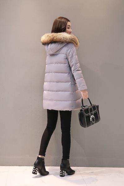 ダウンジャケット レディース シンプル 毛襟 軽量 着痩せ 通勤 通学 ゆったり 厚手 防寒 美シルエット ファー 暖かい S~2XL 白