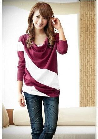 ブランド新しいバットウィングOネック女性トップススプライスファッションヨーロッパブリーフスタイルレディースTシャツ4色