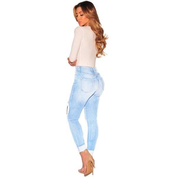 新しいパンツ女性スカイブルーロングブロークンホールファッションジーンズ