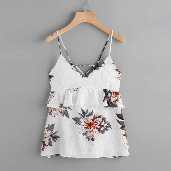 Women Floral Casual Sleeveless Crop Top Vest Tank Shirt Blouse Cami Top