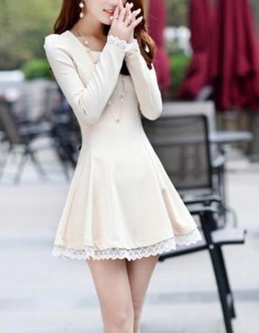 2015春と秋の新しい韓国の女の子の長袖スリムレースのドレススカート(アジアサイズS /