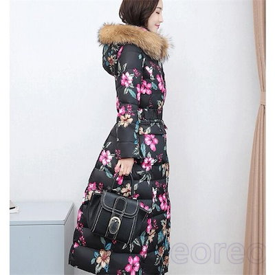 ダウンコート レディース ロング丈 花柄 ダウンジャケット スプリングコート フード付き アウター 秋 暖かい 冬 防寒 防風 おしゃれ