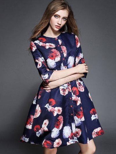 マルチカラークルーネック酢酸女性のヴィンテージドレス