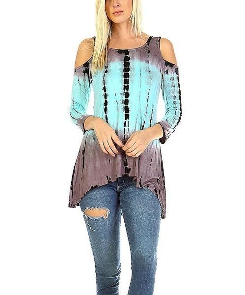 女性のファッションタイ染料トップコールドショルダーアシンメトリーチュニックTシャツ