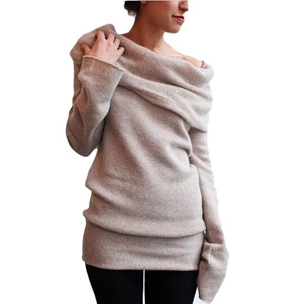 最新ファッションスリムソリッドカラーロングスリーブパイルカラーニットバッキング
