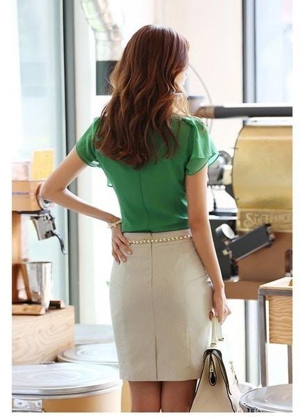 ホットニューサマーファッションレジャー女性のシャツVネックフラウンシングショートスリーブシフォンブラウスシャツ