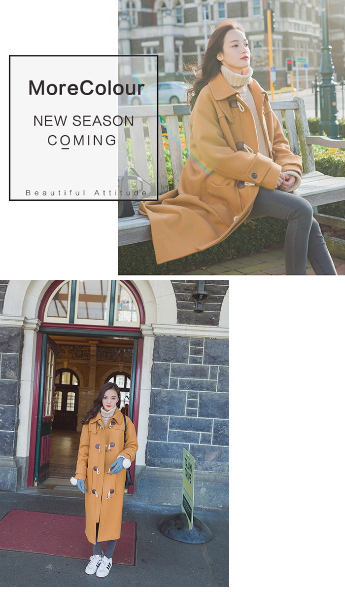 【送料無料】★ベーシックウールタッチロング丈ダッフルコート★コート アウター ダッフルコート シンプル ロング丈 ウールタッチ レディース 秋冬 シンプル ベーシック 韓国ファッション ブラウン★CELEBTV★