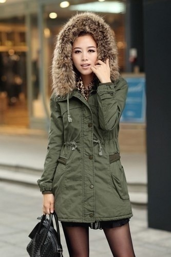 Army Green Parka with Faux Fur