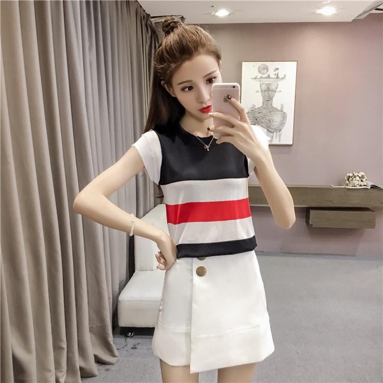 RED-SUGAR 夏服新型韩范縞冰丝半袖ニットシャツ女薄上着