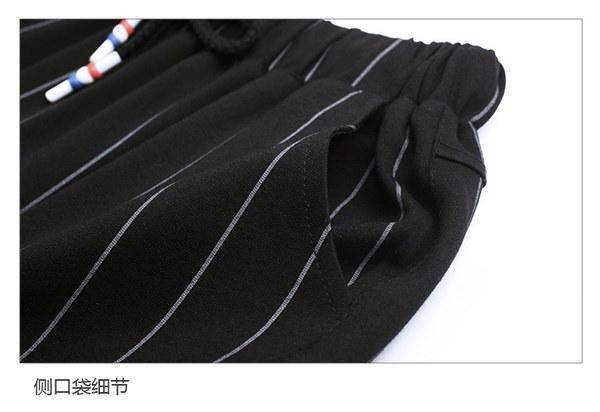 女性の新しいストライプのハレムパンツルース弾性ウエストラージサイズナインポイントパンツ