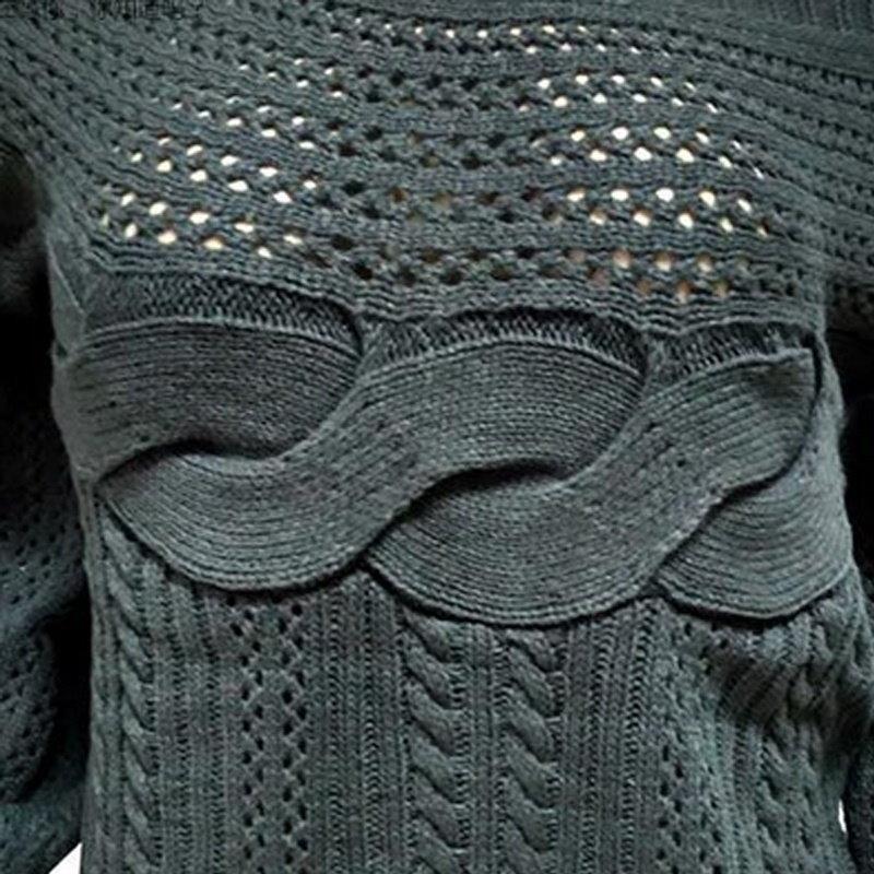 最新の女性カジュアルセクシーなソリッドプルオーバーロングスリーブ中空ルーズセータースラッシュネックセーターGUD