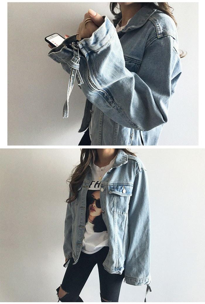 [ナンニン9]【送料無料】大きめのゆったりサイズ感がこなれ感溢れるデニムジャケット。デニムジャケット レディース 秋/デニムジャケット 大きめ/デニムジャケット ナチュラル/gジャン 大きいサイズ/韓国 デニム ジ