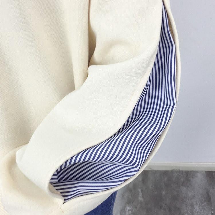 フェイク風×バルーン袖が大人可愛い♪トレーナー トップス バルーン袖 プルオーバー 重ね着風 ストライプ柄 ドッキング 長袖 春 オシャレ レディース