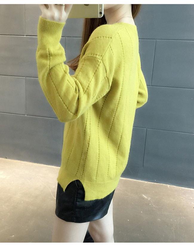 レディースファッション 女性 トップス プルオーバー ニット素材 セーター Vネック インナー カットソー ストライプ 無地 薄手 滑らかな肌触り フルカラー サイドスリット フリーサイズ