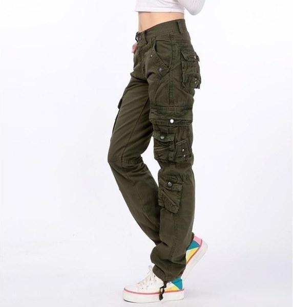 新しい女性のコットンカーゴパンツレジャーパンツその他のポケットパンツパンツ