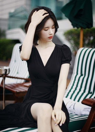 韓国★スリット♪ロングワンピース