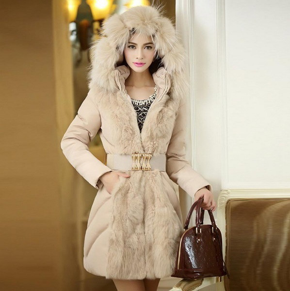 Fashion Women Long Sleeve Slim Outwear Fur Collar Parka Stand Collar Hooded Long Down Cotton Coat
