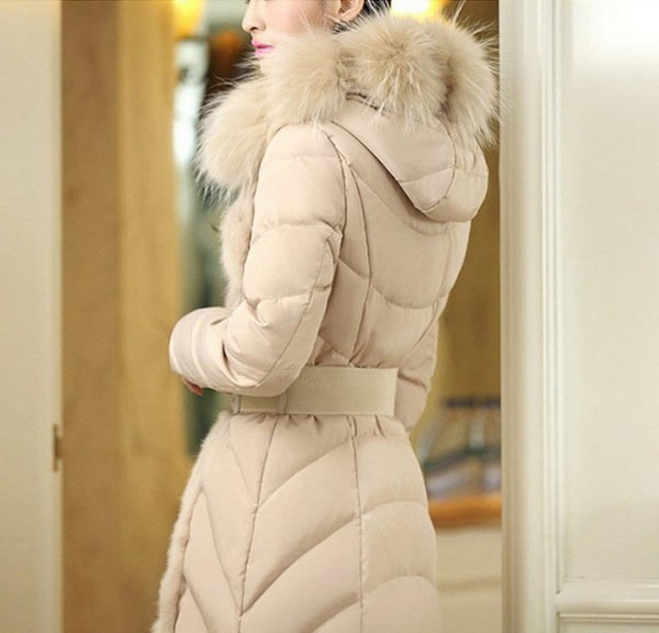 Fashion Women Long Sleeve Slim Outwear Fur Collar Parka Stand Collar Hooded Long Down Cotton Coat