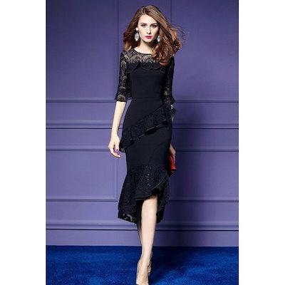 パーティードレス ワンピース レディース ベルスリーブ 結婚式 ドレス 大きいサイズ レース フォーマル マーメイド 結婚式ドレス 二次会 きれいめ お呼ばれ 上品-P774