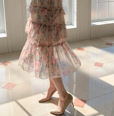 [arima] 日差し花シフォンワンピース