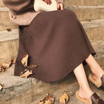 おすすめ 今季トレンド スカート 膝下丈 ふんわり Aライン ハイウエスト ガーリー カジュアル フェミニン I0621